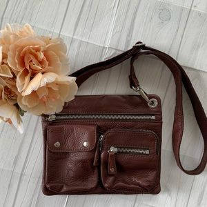 Fossil Brown Leather Crossbody Square Purse